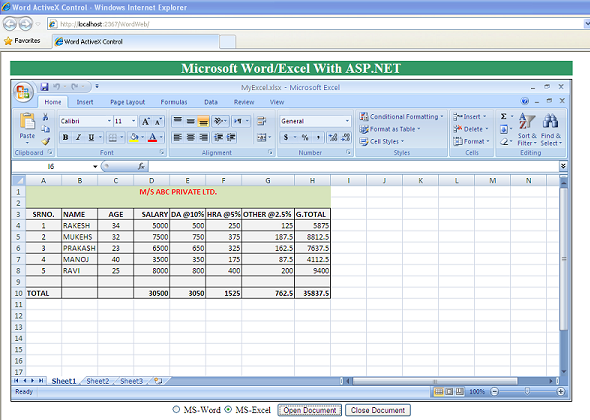 controles activex de word  excel em asp net