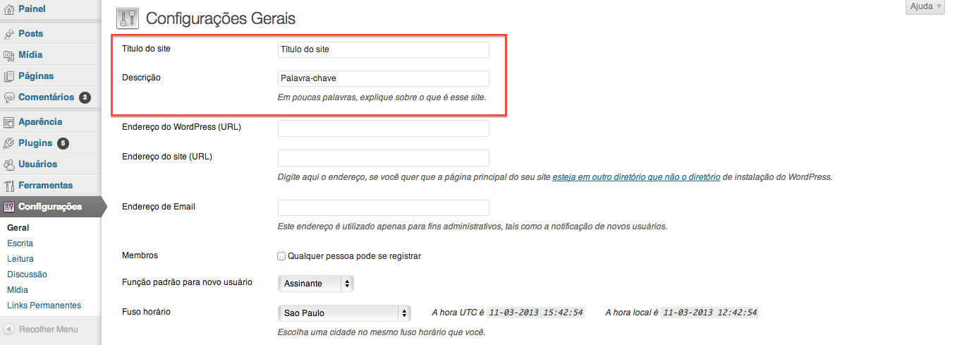 Campos para inserção do Título e descrição do site/blog WordPress