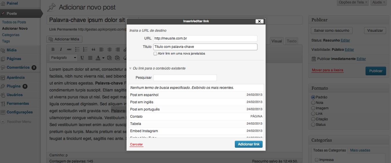 Fazendo linkagem interna em sites/blogs em WordPress