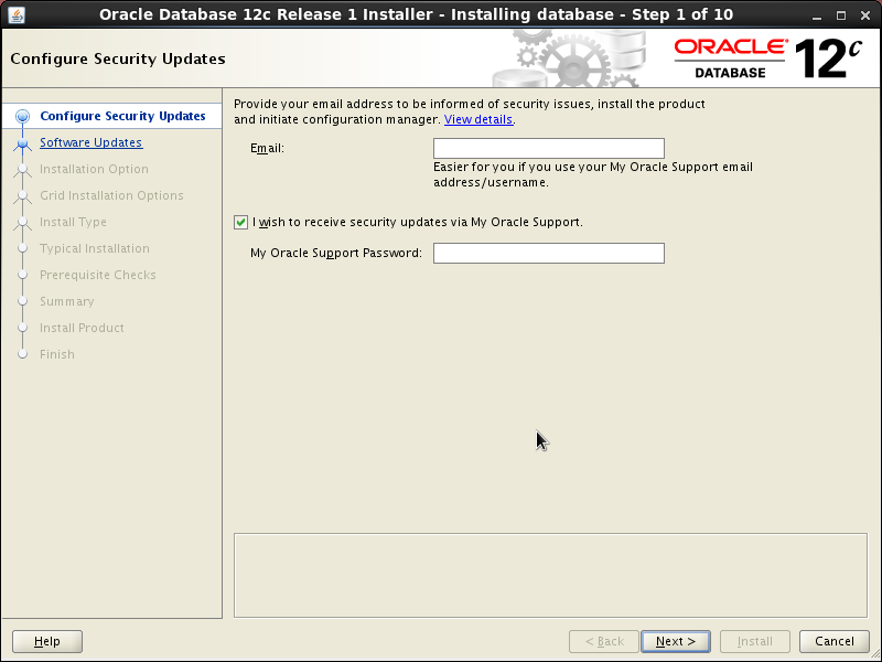 Screenshot-Oracle Database 12c Release 1 Installer - Installing database - Step 1 of 10
