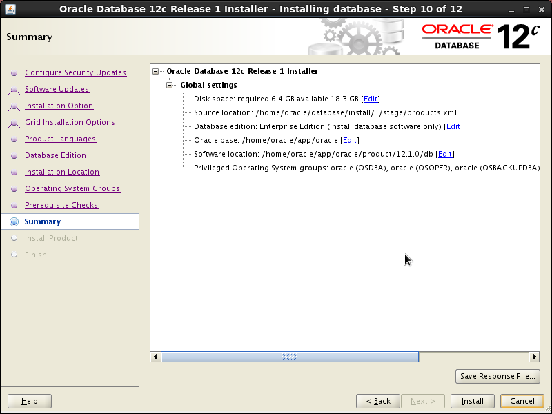 Screenshot-Oracle Database 12c Release 1 Installer - Installing database - Step 10 of 12