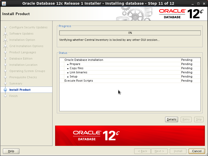 Screenshot-Oracle Database 12c Release 1 Installer - Installing database - Step 11 of 12