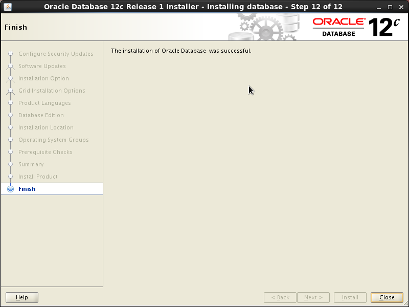 Screenshot-Oracle Database 12c Release 1 Installer - Installing database - Step 12 of 12