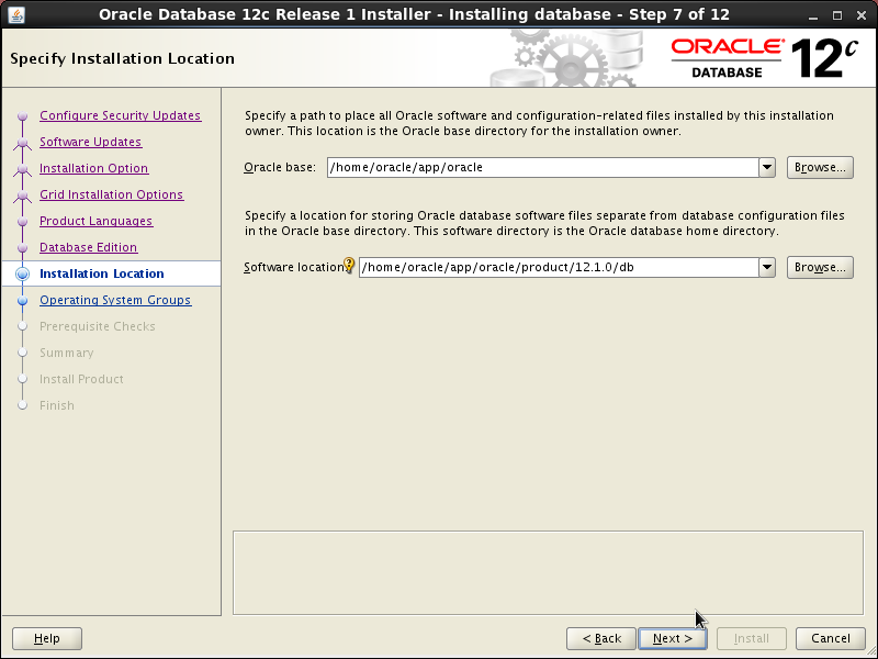 Screenshot-Oracle Database 12c Release 1 Installer - Installing database - Step 7 of 12