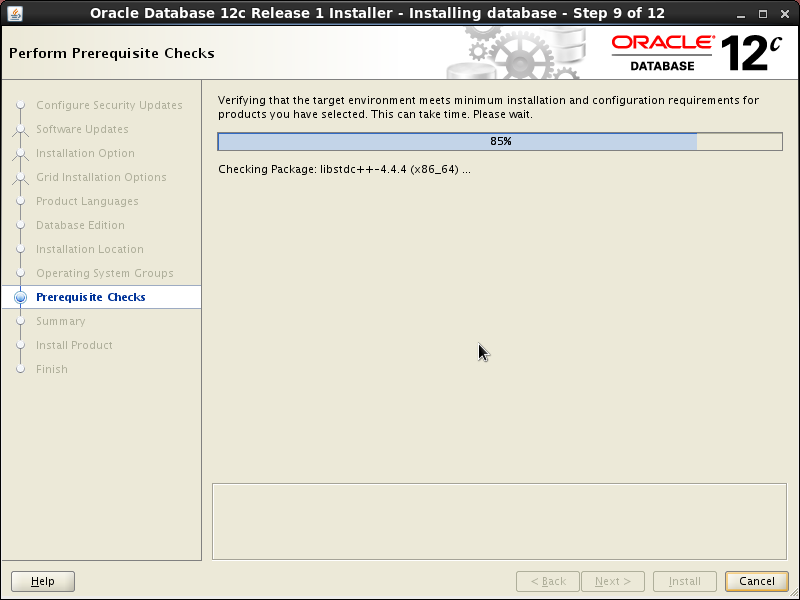 Screenshot-Oracle Database 12c Release 1 Installer - Installing database - Step 9 of 12