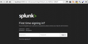 Tela de login do Splunk