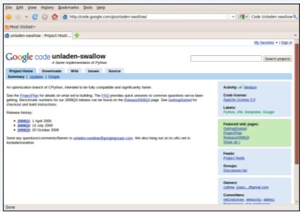 Figura 2: Google é o host do Unladen Swallow, projeto dedicado à construção de aplicativo Python otimizado.