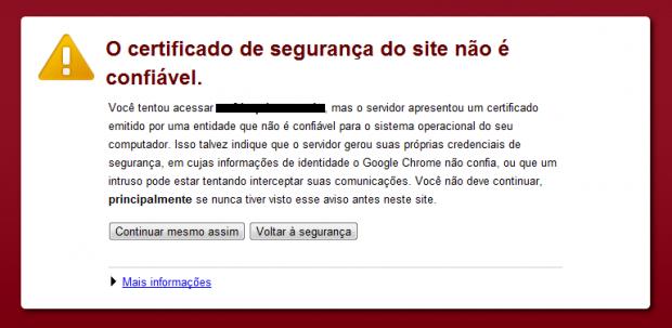 Exemplo de certificado inseguro no Chrome.