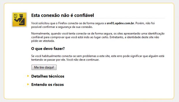Exemplo de alerta de certificado no Firefox.