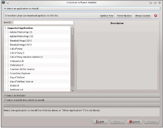 Figura 1: O instalador de software do CrossOver fornece uma maneira fácil de instalar aplicativos do Windows no Linux.
