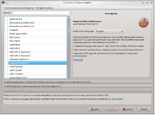 Figura 2: O instalador de software apresenta uma lista dos softwares Windows suportados.
