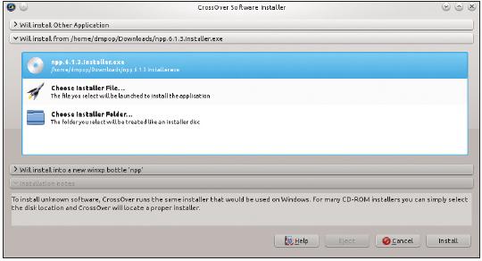 Figura 3: O instalador de software do CrossOver lida com diferentes fontes de instalação.