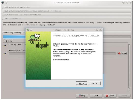 Figura 5: O CrossOver instala também aplicativos sem suporte oficial.