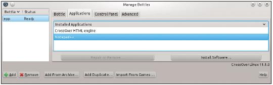 Figura 7: A seção Aplications do Bottle Manager permite instalar e apagar aplicativos do Windows.