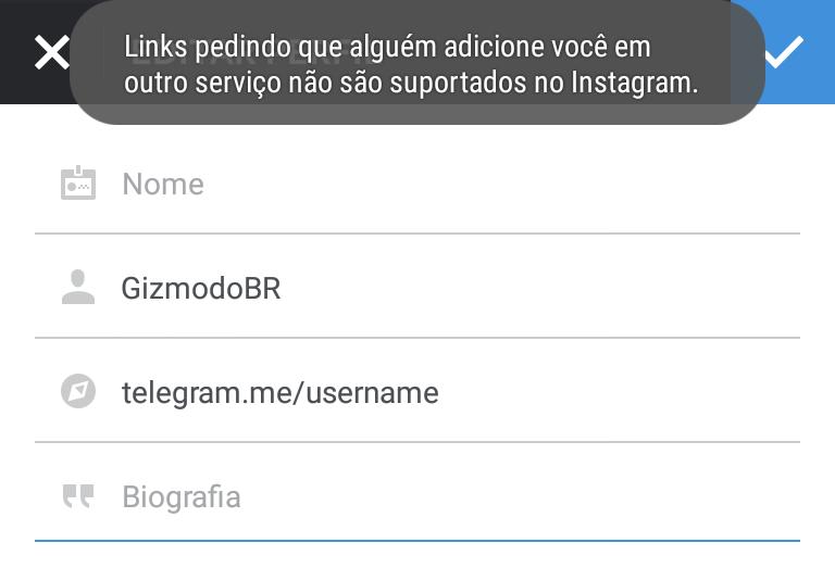 Instagram bloqueia links do Telegram e Snapchat no perfil de