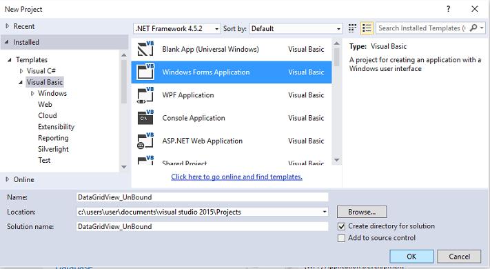VB  NET – Criando um DataGridView no modo não vinculado