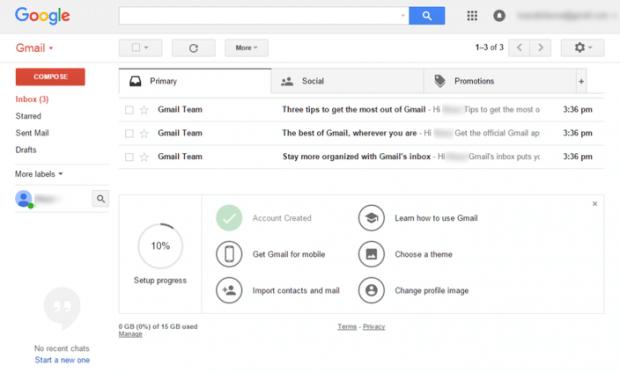 Tela de OnBoarding no Gmail quando o usuário faz seu primeiro acesso