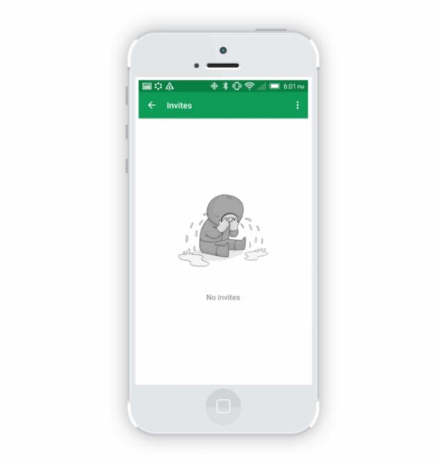 Exemplo do uso de sentimentos em estados vazios feito pelo Google Hangouts