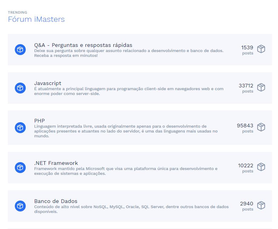 fórum imasters na home do portal