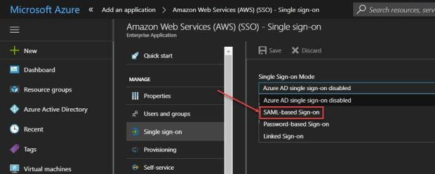 Integração do Azure Active Directory com o AWS (Amazon Web
