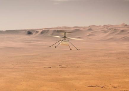 imagem do Helicóptero Ingenuity sobrevoando solo marciano com software de código aberto da nasa